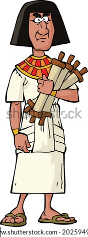 Ancient Egyptian official on a white background vector illustration - stock vector