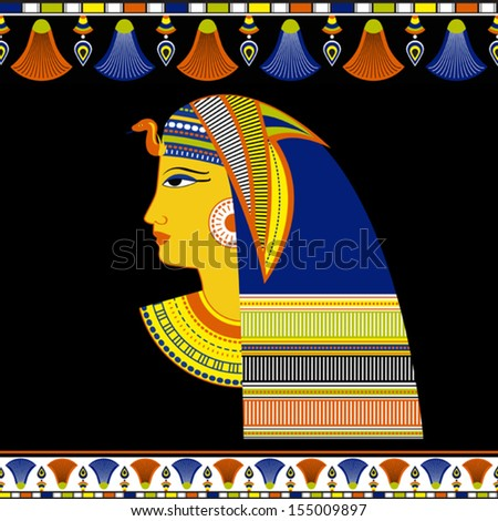 Ancient Egyptian Pharaoh head with traditional ornament on black - vector illustration - stock vector