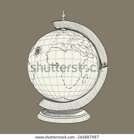 ancient geographical globe illustration - stock vector