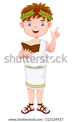 Ancient greek man cartoon - stock vector