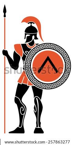 Ancient Greek Warriors - stock vector