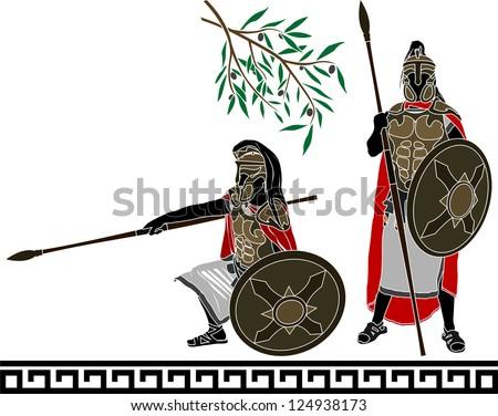 ancient hellenic warriors. second variant. vector illustration - stock vector