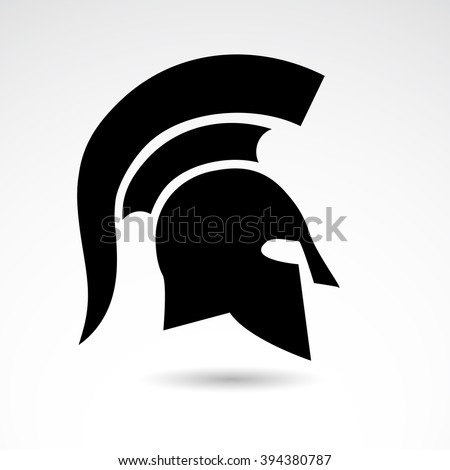 Ancient helmet, warrior, soldier, spartan icon on white background. Vector art. - stock vector