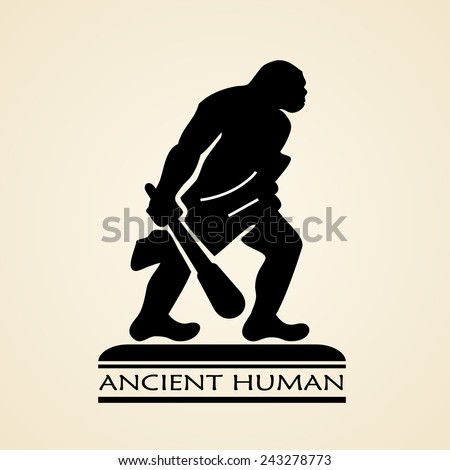 Ancient human icon - stock vector
