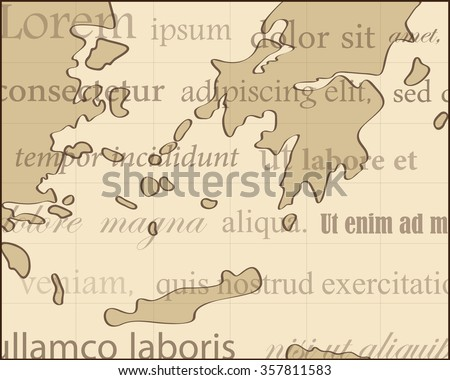 ancient map with brown background and text - stock vector