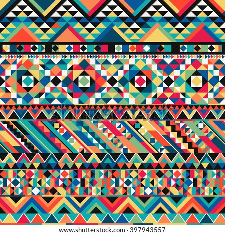Ancient Mexican Aztec colorful ornamental fabric textile background - vector seamless pattern - stock vector