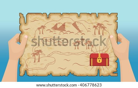 Ancient old pirate treasure map pattern with hands, island map on brown old paper and ancient treasure chest with gold and riches. - stock vector