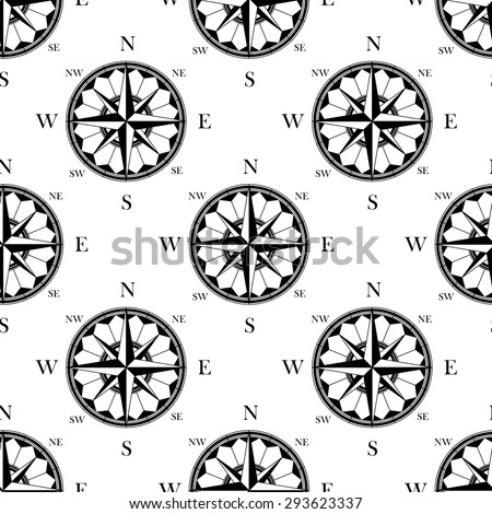 Ancient ornate compass roses seamless pattern in retro black and white style, for wallpaper or travel background design - stock vector