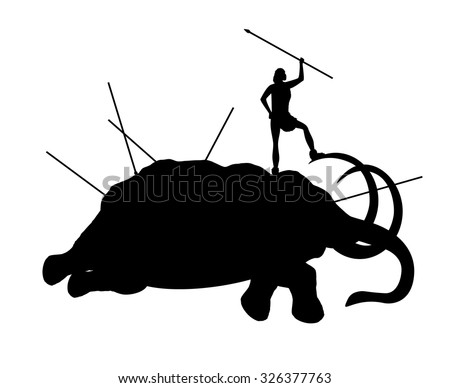 Ancient people killed mammoth - stock vector