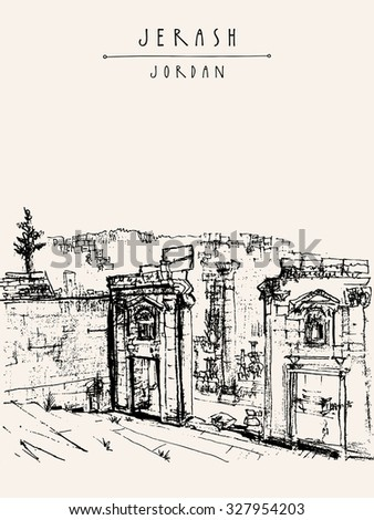 Ancient Roman city of Jerash, Jordan, Middle East. Black and white vertical vintage artistic hand drawn postcard or poster in vector - stock vector