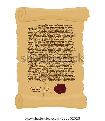 Ancient Royal Decree with print. Secret  Old yellow scroll. Abstract calligraphy text. Antique manuscript. Old faded paper document