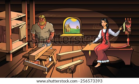Ancient Russians, man and woman, working at home, vector illustration - stock vector