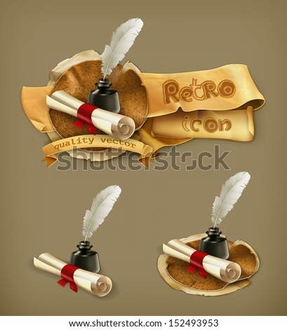 Ancient scroll and feather, vector - stock vector