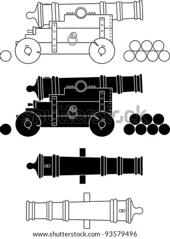 Ancient ship artillery gun XVII - XIX-th century - vector isolated illustration, white background. Set. Kernels. - stock vector