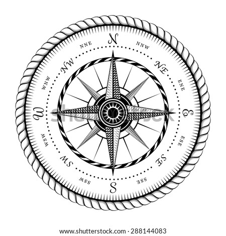 Ancient Sign of Wind Rose Engraving Stylized - Illustration Isolated on White Background - stock vector