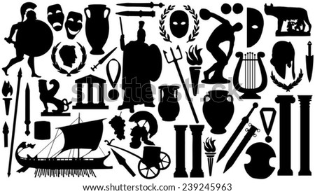 ancient silhouettes on the white background - stock vector