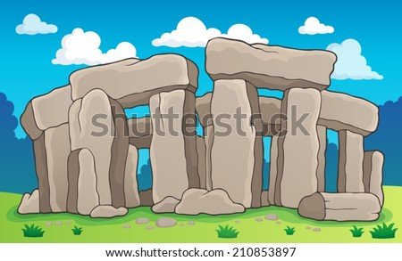 Ancient stone monument theme 2 - eps10 vector illustration. - stock vector