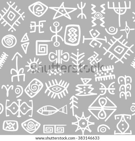 Ancient symbols set seamless pattern - stock vector
