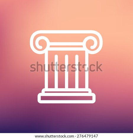 Ancient wall icon thin line for web and mobile, modern minimalistic flat design. Vector white icon on gradient mesh background. - stock vector