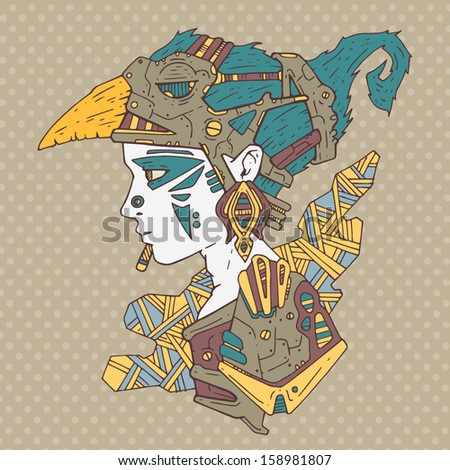 ancient warrior - stock vector
