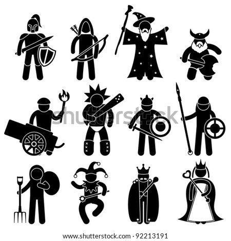 Ancient Warrior Character for Good Alliance Icon Symbol Sign Pictogram - stock vector