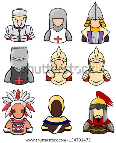 Ancient warrior icon collection set 2, create by vector - stock vector