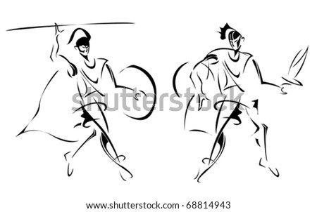 Ancient warriors, stylized sketch of - stock vector