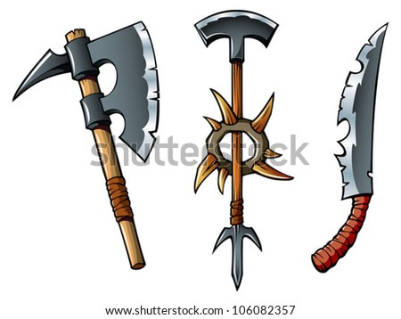 Ancient weapon of barbarians axes and sword, vector illustration - stock vector