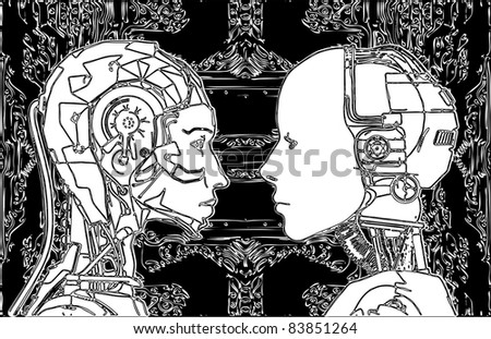 Androids Do Not Agree On Revealing Of Their Technology Vector 14 - stock vector