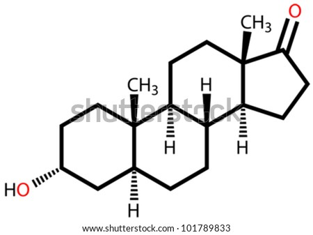 Androsterone, a male sex hormone. Structural formula - stock vector