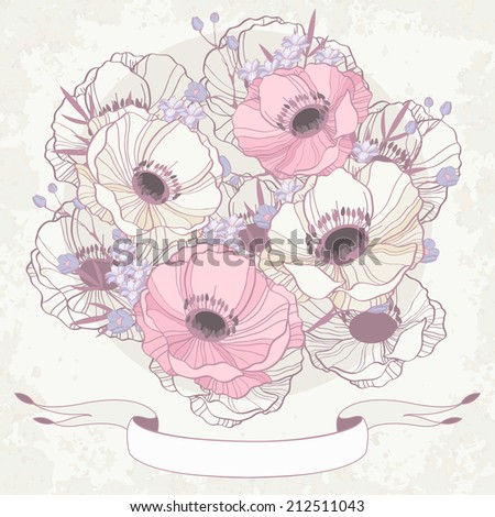 Anemone floral background invitation card - stock vector