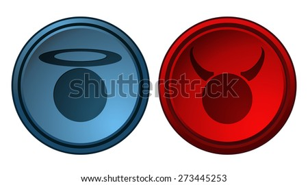 Angel and Devil Blue and Red Button Glossy Signs, Vector Illustration.  - stock vector