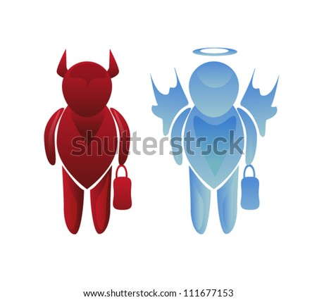 angel and devil business characters - stock vector