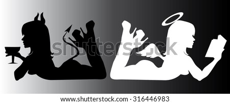 angel and devil; good and bad - stock vector