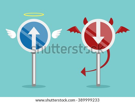 Angel and devil symbol. Vector flat illustration - stock vector