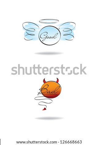 angel and devil symbols, good and bad, isolated on the white background - stock vector
