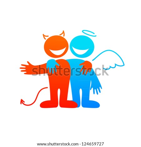 Angel and devil - vector illustration for design - stock vector