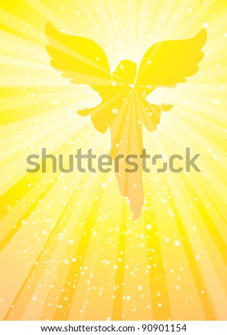 angel appearing in golden rays of light - stock vector