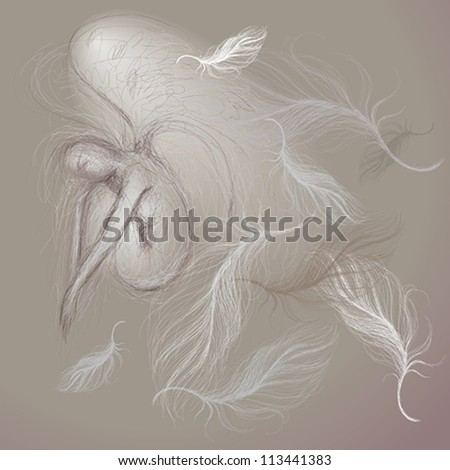 Angel at peace / Fine sketch - stock vector