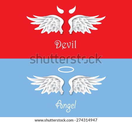 Angel & Devil Concept - Vector - stock vector
