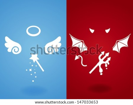 Angel & Devil Concept - Vector File EPS10 - stock vector