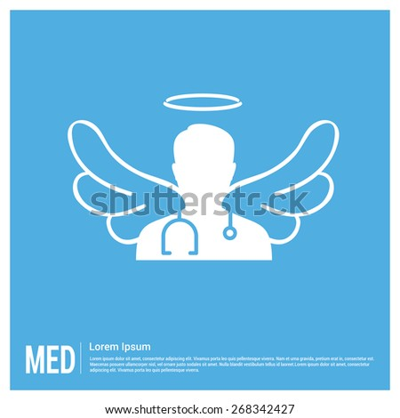 Angel Doctor Medical Health Concept design template. Doctor with wings flat icon on blue background. healthcare icon. doctor Sargon icon - stock vector