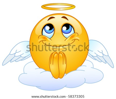 Angel emoticon - stock vector