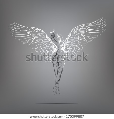 Angel girl with white wings. vector illustration - stock vector
