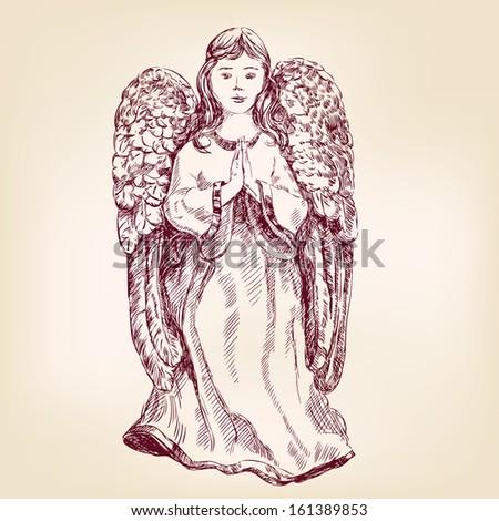 angel hand drawn vector llustration realistic sketch - stock vector