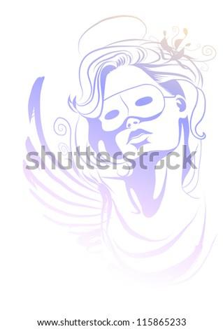 Angel in carnival mask. Carnival  costume. Vector illustration. - stock vector