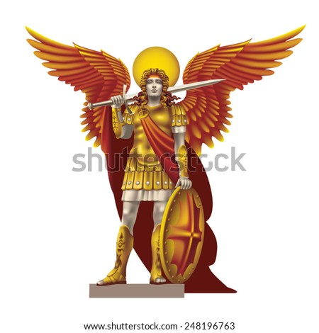 Angel in colored robes with a sword on a white background - stock vector