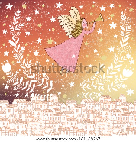 Angel in the sky with northern lights in vector. Vintage Christmas card in stylish colors in vector. Bright concept holiday background - stock vector