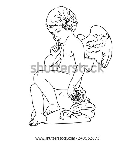 Angel or cupid isolated hand drawn vector illustration - stock vector