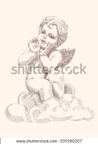 angel or cupid isolated hand drawn vector llustration - stock vector